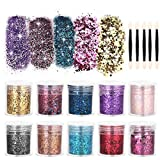 Face Glitter, Brillantini Decorazioni Glitter Unghie Occhi Make up - 10 Scatole Glitter Set - Body Cosmetici Glitter per Capelli Nail Art Decorativi per Slime Party Artigianato di Natale (NO.1)