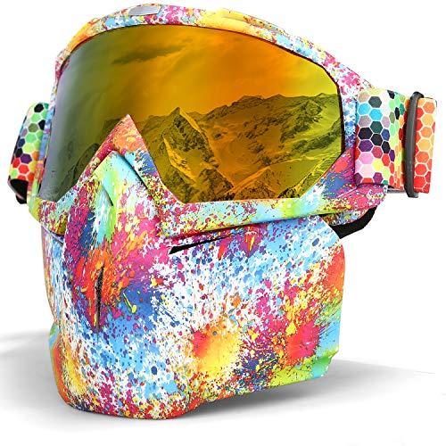 LAMEDA Masques de Lunettes Moto Lunette de Ski Antibuée pour Motocross Motoneige Snowboard Casque à Visage Coupe-VentAnti-UV (Cadre coloré+ Verre Rouge)