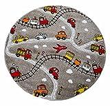 Kinderspielteppich Kinderteppich Spielteppich MOMO 10 | Taupe | Spielstraßenmotiv | Ø 133 cm | Polypropylen