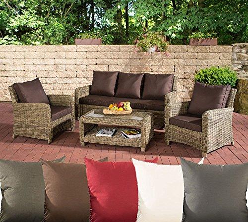 CLP Gartengarnitur SAN Fernando | Sitzgruppe mit 7 Sitzplätzen | Gartenmöbel-Set aus Polyrattan | In Verschiedenen Farben erhältlich Rattan Farbe Natura, Bezugfarbe: Terrabraun