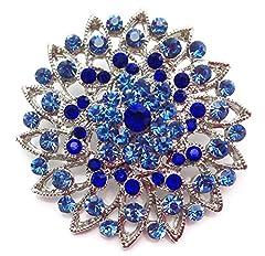 Idea Regalo - Piccoli Strass cristallo Spilla con bellissima Spilla fiore blu (BR038)