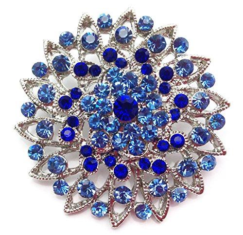 Unbekannt Wunderschöne Kleine Strass Kristall Brosche mit Anstecknadel Blume Blau (BR038) (Strass Kristall Brosche)