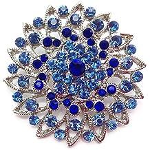 Práctico y pequeños cristales de broche con broche Flor azul (BR038)