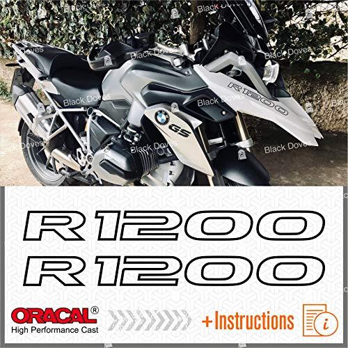 2pcs Adesivi R1200 compatibile con moto Motorrad LC R 1200 GS r1200gs (Black)