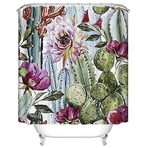 Duschvorhang Schimmelresistent Wasserdicht Duschvorhang Set mit Haken Badezimmer Zubehör Blatt Druck Größe 167,6 cm (W) X 182,9 cm (H) (1)