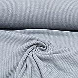 MAGAM-Stoffe ''Ella'' Rippen-Jersey uni | 7 Farben | sehr hochwertiger Stoff in toller Strick-Optik | Meterware ab 50cm | QX-7-6 (5. Grau)
