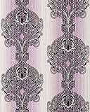 3D Barock Tapete EDEM 096-24 Tapete Damask prunkvolle Ornament-Designs violett flieder weiß silber schwarz | 5,33 qm