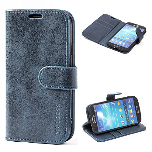 Mulbess Custodia per Samsung Galaxy S4, Cover Samsung Galaxy S4 Pelle, Flip Cover a Libro, Custodia Portafoglio per Samsung Galaxy S4, Navy Blu