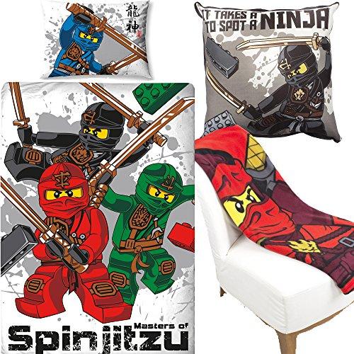LEGO Ninjago Warrior Bettbezug & Leinwand Kissen & Fleece Decke Schlafzimmer Bundle Set
