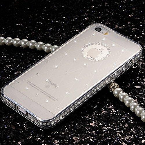 "iPhone 7 Bling Rückseite, iPhone 7 Hülle (4.7"") ,Sunroyal Durchsichtig Silikon Transparent Glitter Grid Muster Transparent Weiche Silikon Zurück Handyhülle Schutzhülle Ultradünnen Kratzfeste TPU Bumpe Weiß"