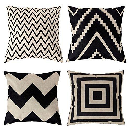 4 x Kissenbezug Schwarz Weiß Geometrie Muster Leinen Gedruckt Kissen Kissen Abdeckung Sofa Car Home Dekorative 18x18 Zoll (Gedruckt Dekorative Kissen)