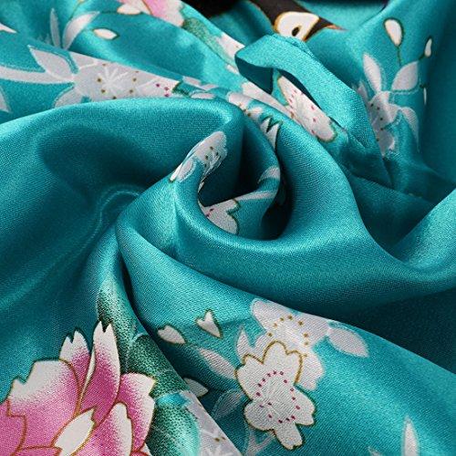sourcingmap® Vestito in raso da donna, a metà lunghezza leggera Vestaglia(bianco+luce viola, XXL) Lake Blue Floral