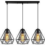 Retro Métal Luminaire Lustre Suspensions Plafonnier Industriel Vintage Style Noir Créatif Metal Suspensions Luminaire cage Ec