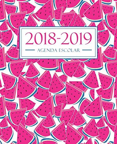 Agenda escolar 2018-2019: 190 x 235 mm: Agenda 2018-2019 semana vista español: 160 g/m²: Agenda semanal 12 meses: Sandías rosadas