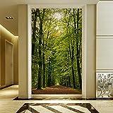 Poowef 3d Wallpaper das Grün der Bäume im Herbst Sonnenlicht Wallpaper 3D Magic off Hintergrund Tapete Korridor gang Restaurant benutzerdefinierte Wandmalereien