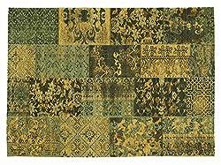 DALLIANCE ALLOVER Vintage Patchwork Velour Teppich in grün, Größe: 120x170 cm