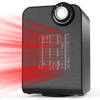 BIMONK Space Heater, 1000/1800 Watts Auto Oscillating with Thermostat for Home and Office Under Desk, Compact Personal Powerful Ceramic Electric Heater, Quickly Heat Up