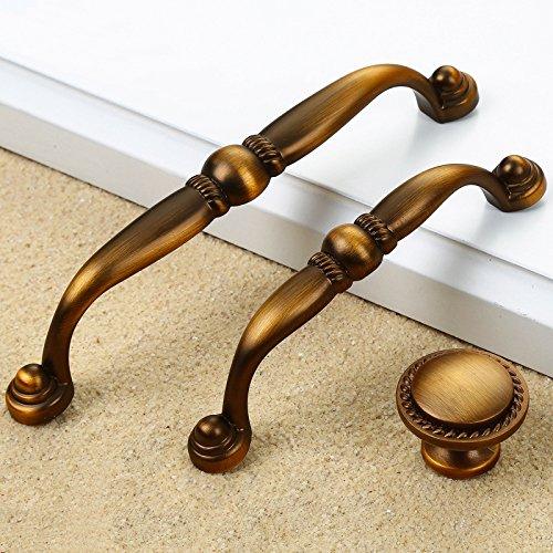 Zink Legierung Bronze solide Türgriffe 3 Spezifikationen Vintage Cabinet Schrank Schrank Schublade ziehen Knöpfe Möbelbeschläge, 128 mm (Aus Produkte Ziehen Edelstahl Schublade)