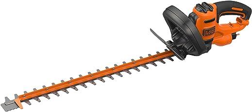 Black+Decker Elektro-Heckenschere (600W, 60 cm Schwertlänge, 25 mm Schnittstärke, Bügel-Zweithandgriff und transparentem Handschutz, für große Hecken)