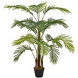 vidaXL Planta Artificial Decoración Palmera Maceta Flores Decorativas Realistas Exterior Interior Oficina Hojas Plástico 120