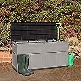 Wido Large 320L Plastic Garden Storage Box Chest Container Grey Outdoor Lockable