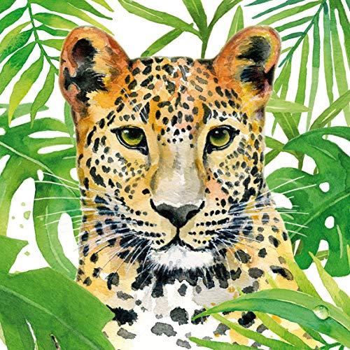 Home Collection Servietten (2er Set / 40Stück) 3-lagig 33x33cm Tropical Leopard Blätter Monstera Philodendron Hibiskus