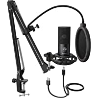 FIFINE Studio Kondensator USB Mikrofon Computer PC Mikrofon Kit mit verstellbarem Scherenarm Ständer Shock Mount für…