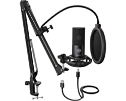 FIFINE Micrófono USB de Condensador para estudio, Kit de micrófono ordenador PC con soporte de brazo de tijera ajustable Sopo