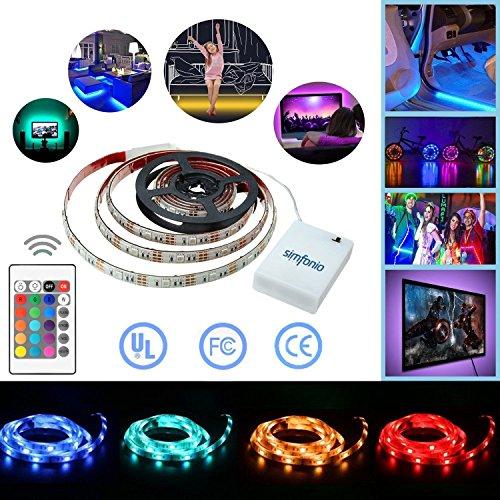 Foto de Simfonio Tiras Led 1m 30 Leds IP65 Impermeable 5050 SMD RGB Tira LED Kit Completo con Mando a Distancia 24 Teclas y Bater¨ªa Carcasa