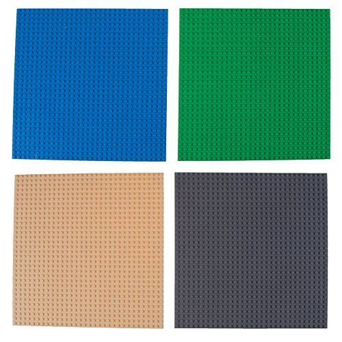 "Strictly Briks Classic Baseplates for Building Bricks by 100% Compatible with Major Brands | Building Bases for Tables, Mats and More! | 4 Blue Base Plates 10"" x 10"" (04-Blue, Gray, Green, Sand)"