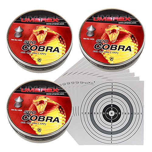 1.500 UMAREX COBRA Spitzkopf-Jagddiabolos Kaliber 4,5 mm/geriffelt 4.1916 + 25 ShoXx.® shoot-club Zielscheiben 14x14 cm mit zusätzlichen grauen Ring und 250 g/m²