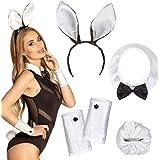Boland 52319 - Kostuumset Bunny, haarband, kraag, manchetten en staart, wit
