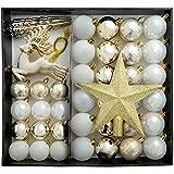 WeRChristmas Bruchsichere Luxus Weihnachtsbaum Kugeln, Plastik, Silber/weiß, 50 Piece