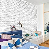 Wandaufkleber Yesmile,3D Wallpaper DIY Wandaufkleber Dekor Embossed Backstein Wandtattoo 45X45CM/45X100CM (45x45, Weiß)