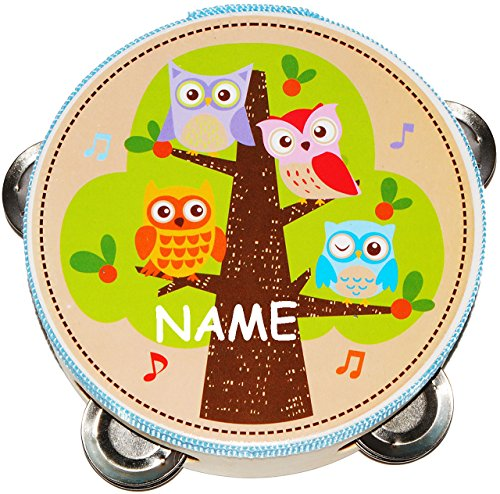 alles-meine.de GmbH Tamburin - aus Holz -  lustige Eulen auf dem Baum  - incl. Name - mit Metall Schellen / für Kinder & Erwachsene - Perkussion - Tambourin - Handtrommel - Mus..