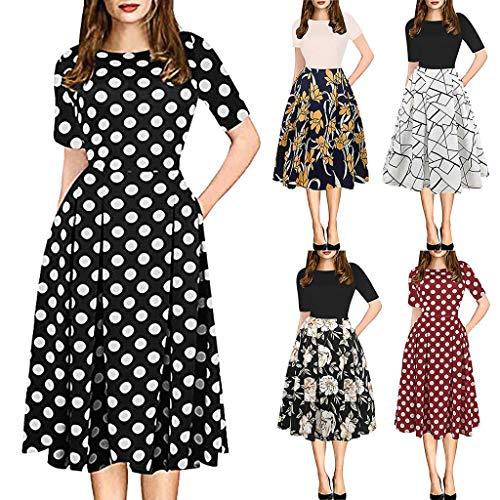 VJGOAL Kleider Damen Elegant Große Größen Retro Nähen Blume Drucken Tutu Party Abendkleid Dresses for Women (2-jähriger Junge Halloween-kostüme 2019)