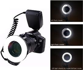 Ring Flash, 18 Macro LED Anello Flash RF-600D【3 Volte Luminosità di 48pcs LED Anello Flash】 include Anello di Adattatore e Flash Diffusore per Canon, Nikon, Panasonic, Olympus, Pentax SLR Cameras