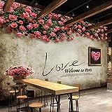 Wongxl Im Europäischen Stil Garten Stil Rosen Tapete Antike Wand Betonwand In Der Kaffee Lounge Restaurant Wohnzimmer Tapete 3D Tapete Hintergrundbild Fresko Wandmalerei Wallpaper Mural 400cmX300cm