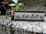 Schlüsselanhänger Schlüsselband Wollfilz anthrazit Fahrräder beige orange !