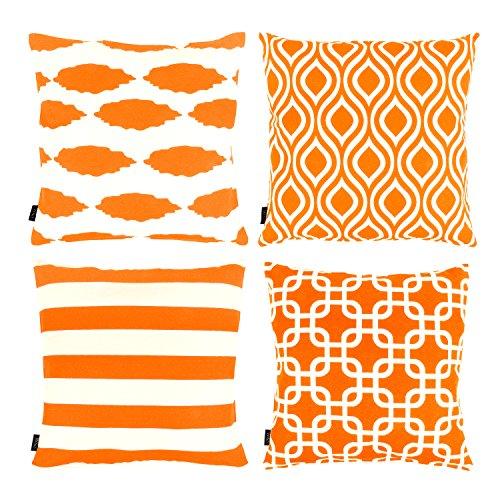 Willow & Smith dekorative Überwurf-Kissenbezüge, aus  Baumwolle, für Sofas und Betten, 4er-Set, geometrisches Design Orange Cover Willow