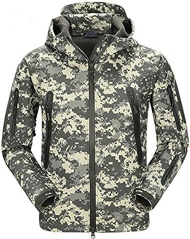 TACVASEN Camo Homme Veste Softshell imperméable militaire Camouflage De plein air Vestes coupe-pluie S petit