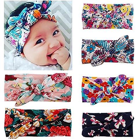 OKPOW® Seis piezas de tocado precioso de lazo o pañuelo bello de lazo para niños