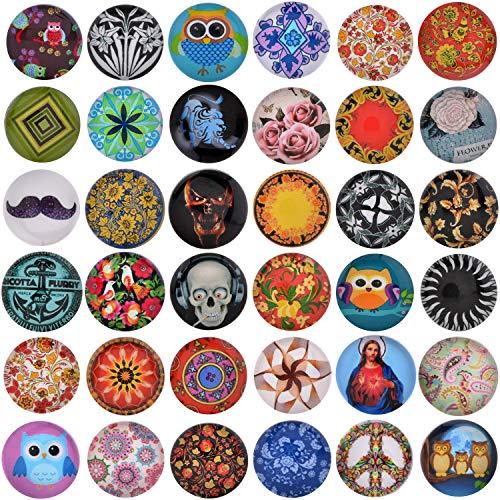 Morella 36 Click-Buttons Set Knöpfe Chunks Steine für Armbänder Ringe und Halsketten Foto Print Mix 18 mm kompatibel -