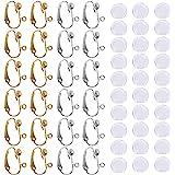 24 stuks oorbellen converter clip-on & 30 stuks siliconen oorbellen pads, met Easy Open Loop, SENHAI 12 paar zilver & goud ve
