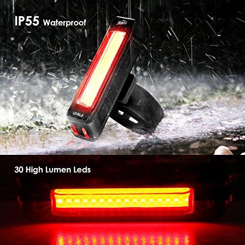 HiHiLL Luces Bicicleta  Luz LED Trasera de Bicicleta  Luces para bicicleta con recargable USB  Luces con Impermeable para Ciclismo  6 Modos de Brillo  Negro