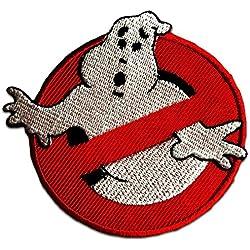 Toppe termoadesive - Ghostbuster Comic bambini Film - rosso - Ø7,5cm - Patch Toppa ricamate Applicazioni Ricamata da cucire adesive