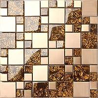 Elegante vetro ambra e oro spazzolato acciaio inossidabile Mosaico Piastrelle foglio (mt0087)