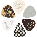 """Fender©""""351 Material Medley Picks"""" Médiators pour Guitare et Basse - Diverses couleurs et matériaux - Medium - Set de 6"""