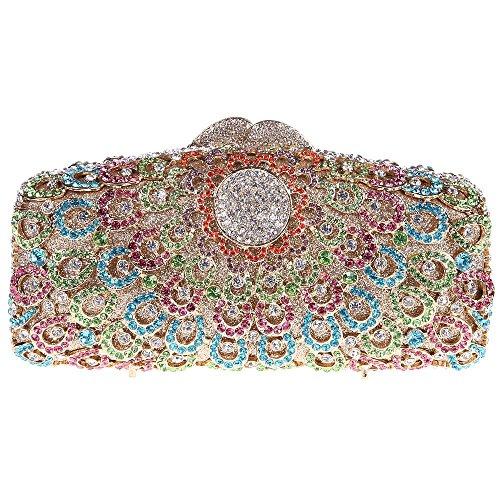 Santimon Clutch Delle Donne Pavone Diamante Cristallo Strass Borsetta Borse Da Festa di Nozze Sera Con Tracolla Amovibile multicolore