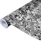 Alle Designs- alle Größen: Stickerbomb Auto Folien glänzend oder matt - Marken Sticker Bomb Logos- JDM Aufkleber (50x150cm, Skate schwarz weiß glänzend)